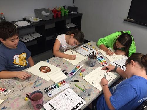 kids creating art in after school program